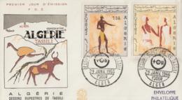 Enveloppe  FDC  1er   Jour    ALGERIE    Fresques  De  TASSILI   1966 - Préhistoire