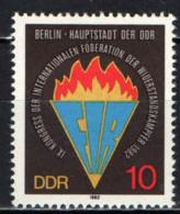 DDR - 1982 - 9° CONGRESSO DELLA FEDERAZIONE INTERNAZIONALE  DEI MEMBRI DELLA RESISTENZA - MNH - [6] Repubblica Democratica