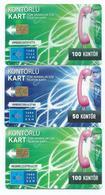 Turquie - Lot De 3 Cartes -Kontörlü Kart Tüm Aramalar Için... - 50 Et 100 Kontör - 2011 - Turk Telecom -Scan Recto-Verso - Turchia