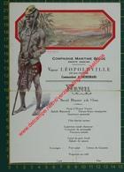 Vapeur Léopoldville - 25 ème Voyage - Compagnie Maritime Belge - Menu - Menus