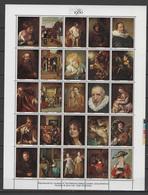 UK England 1980 Paintings Rembrandt, Gainsborough, Titian, Rubens, Goya Etc., London 1980 Sheetlet With 25 Vignettes MNH - Rembrandt
