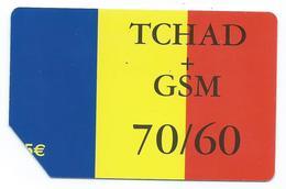 Tchad - TCHAD + GSM 70/60 - Recharge De 5€ - Drapeau Du Tchad - Réf Tchad 0036 131 -Scan Recto-Verso - Tchad