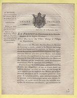 Prefet De La Manche - 10 Septembre 1807 - Defense Aux Secretaires De Maires De Signer Des Actes Publics - Documenti Storici