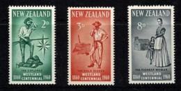 New Zealand 1960 Westland Centennial Set Of 3 MNH - Neufs
