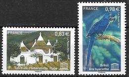 France 2014 Service N° 161/162 Neufs UNESCO à La Faciale + 10% - Mint/Hinged
