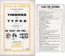 ♦ -  CATALOGUE: TIMBRES ET TYPES - PIERRE DE LIZERAY - VOL. VI - LE MONDE DES PHILATÉLISTES - ÉTUDE N°85 - France