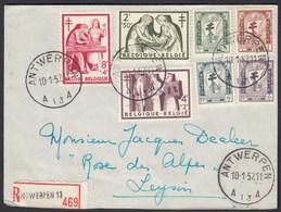 Belgien - Belgium Mi. 1049-53 Auf R-Brief Antwerpen - Leysin   (26282 - Belgien