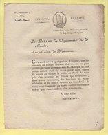 Prefet De La Manche - 19 Frimaire An 11 - Annulation Messe De Minuit Veille De Noel - Documents Historiques