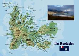 Kerguelen Islands Map TAAF New Postcard Landkarte AK - TAAF : Franz. Süd- Und Antarktisgebiete