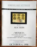 SPRINGLAKE AUCTIONS Shelton Liera Classic Mexico Auction Catalog Oct. 1998 Rare, Essential Literature - Mexico