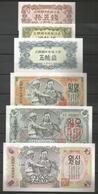North Korea 1947 Full Set 6 Notes 15,20,50 Chon 1,5,10 Won UNC - Korea, North