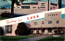 New Mexico University Of New Mexico Greetings Showing Johnson Gymnasium & Library Building - Albuquerque