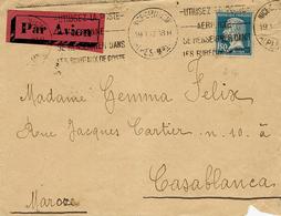 1927- Enveloppe Par Avion ( étiquette Rouge ) De Nice ( Alpes Mar. ) Affr. 1,50 F Pasteur SEUL  Pour Casablanca - 1921-1960: Periodo Moderno