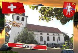 Postcard, REPRODUCTION, Municipalities Of Switzerland, Marly - Mapas