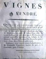 72 ASSE LE BOISNE 1809 AFFICHE PLACARD DE VENTE DE VIGNES PAR LE MAITRE DE PRE 45 X 35 CM TRES BON ETAT  PAPIER CHIFFON - Documents Historiques