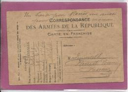 CORRESPONDANCE DES ARMEES DE LA REPUBLIQUE CARTE EN FRANCHISE - Postmark Collection (Covers)