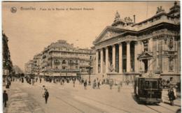 31ksp 1320 CPA - BRUXELLES - PLACE DE LA BOURSE ET BOULEVARD ANSPACH - Places, Squares