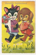 AN 956, OLD FANTASY  POSTCARD  ,  DOGS ,CATS , FINE ART - Chats