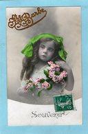 """Jolie Petite Fille -  Ruban - Fleurs - """"Souvenir - Ste Barbe """"- - Portraits"""