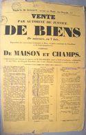 72 SILLE LE GUILLAUME  NEUVILLETTE AFFICHE PLACARD VENTE DE BIENS  PAR MAITRE BACHELIER  26 X 39 CM  PAPIER CHIFFON - Documents Historiques