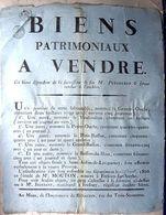 72 ST AUBIN DE LOCQUENAY  1806 AFFICHE PLACARD VENTE DE BIENS  PAR MAITRE MOUTON 45 X 35 CM  PAPIER CHIFFON - Documents Historiques