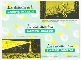 Buvard  20 X 14.9 Les Devinettes De La Lampe MAZDA  Théâtre Violoniste Musicien Phare Création Maurice Brunot - Electricité & Gaz