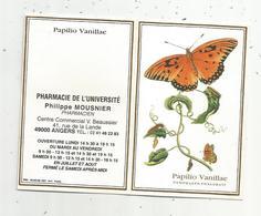 JC , Calendrier ,petit Format ,1999 ,pharmacie De L'Université ,Angers,papillon,papilio Vanillae, 2 Scans - Calendriers