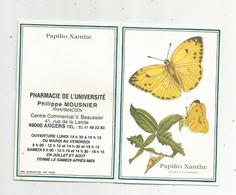 JC , Calendrier ,petit Format ,1999 ,pharmacie De L'Université ,Angers,papillon,papilio Xanthe, 2 Scans - Kalender