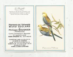 JC , Calendrier ,petit Format ,1998 ,pharmacie De L'Université ,Angers, Oiseaux , Platycercus Palliceps, 2 Scans - Calendriers