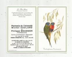 JC , Calendrier ,petit Format ,1998 ,pharmacie De L'Université ,Angers, Oiseaux , Trichoglossus Swainsonii, 2 Scans - Calendriers