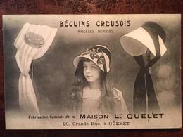 23-GUERET- BEGUINS CREUSOIS -Publicité,  FABRICATION SPECIALE DE LA MAISON L QUELET, A GUERET - Guéret