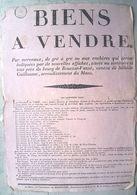72 SILLE LE GUILLAUME ROUESSE 1827 AFFICHE PLACARD BIENS A VENDRE  MAITRE BACHELIER   30 X 43 CM  PAPIER CHIFFON - Documents Historiques