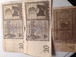 Lot 3 Billets 2 Reichmark 20 Et 1 Reichmark 2 - 20 Reichsmark