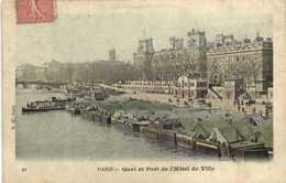PARIS Quai Et Port De L' Hotel De Ville   Peniches Colorisée RV - France