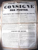 GARDE NATIONALE 1848 CONSIGNE DES POSTES COMMANDANT ET SERVICE DE RONDE CONTROLE  IVRESSE  ET DIVERS 70 X 51 CM - Documents Historiques