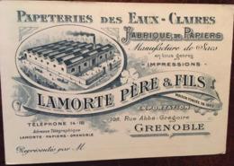 Carte De Visite Publicitaire (Publicité), Papeteries Des Eaux-Claires, Lamorte Père Et Fils (38, Isère,Grenoble) - Visiting Cards