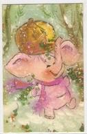 AN 957, FANTASY  FOLDING CARD  , 85 X 135 Mm  ELEPHANTS , FINE ART - Éléphants