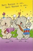 AN 961, FANTASY  FOLDING CARD  ,115 X 175 Mm ELEPHANTS , GREETINGS - Éléphants
