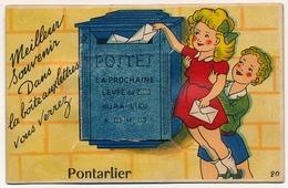 CPSM à Système - PONTARLIER (Doubs) - Dans La Boite Du Facteur, Vous Verrez... Pontarlier (+ Vues En Accordéon) - Pontarlier