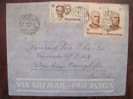 Madagascar 1949 France NOSSI BE Lettre Enveloppe Cover Colonie Par Avion Air Mail Paire 10f - Madagaskar (1889-1960)