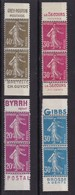 PUBLICITE: SEMEUSE 4 BANDES VERTICALES : 20C/BYRRH 30C/GIBBS 30C/LE SECOURS 40C/GREY POUPON ACCP ** COTE 100E - Publicités