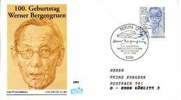 """BRD Schmuck-FDC """"100.Geburtstag Von Werner Bergengruen"""" Mi. 1629 ESSt 10.9.1992 BERLIN 12 - [7] Federal Republic"""