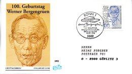 """BRD Schmuck-FDC """"100.Geburtstag Von Werner Bergengruen"""" Mi. 1629 ESSt 10.9.1992 BONN 1 - [7] Federal Republic"""