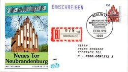 """BRD Schmuck-FDC Freimarken """"Sehenswürdigkeiten: Neues Tor Brandenburg"""", Mi 1623 ESSt 13.8.92 BERLIN 12 - [7] Federal Republic"""