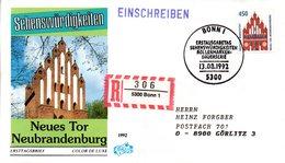 """BRD Schmuck-FDC Freimarken """"Sehenswürdigkeiten: Neues Tor Brandenburg"""", Mi 1623 ESSt 13.8.92 BONN 1 - [7] Federal Republic"""