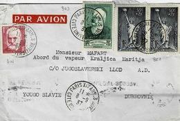 TP N° 304, 343 Et 352 En Double Sur Enveloppe De Paris XIV Pour Vapeur Kraljica à  Dubrovnik Avec Cad De Transit - 1921-1960: Modern Tijdperk