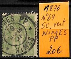 [832435]TB//O/Used-France 1876 - N° 64, 5c Vert Nimes PP - France