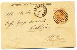 1878 CONEGLIANO VENEZIA CERCHIO TIPO LOMBARDO VENETO + + NUMERALE A SBARRE DA VENEZIA AVVOCATO GUETTA - 1878-00 Umberto I