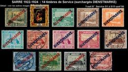 SARRE 1922-24 - Yv. Service 1 à 15 Sauf 6 * Ou Obl.   Cote= 63,15 EUR - 14 Timbres Surchargés DIENSTMARKE  ..Réf.DIV2021 - Officials