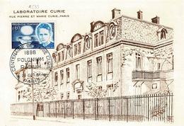 TP N° 1533 Seul Sur Carte Postale 1er Jour Du Laboratoire Curie De Paris - Poststempel (Briefe)